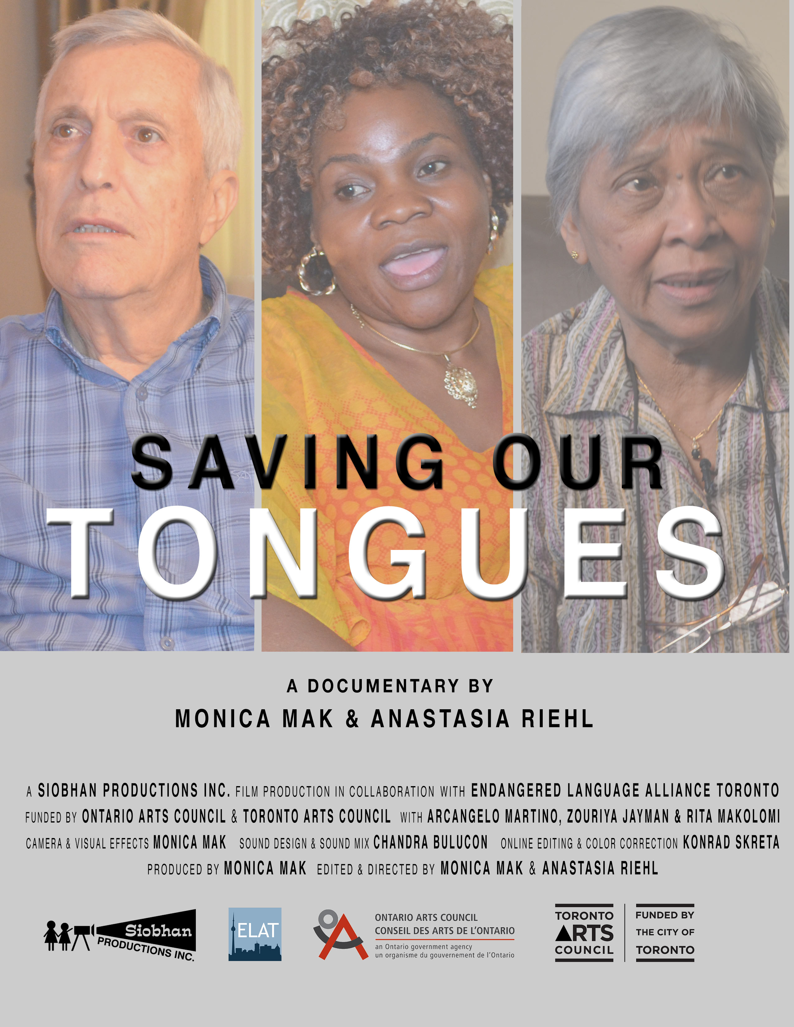 Poster for the documentary film Saving Our Tongues, featuring the photos of the three people interviewed in the film.